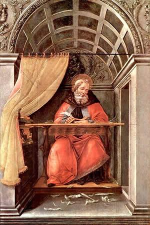 Боттичелли. Святой Августин в келье (ок. 1490-1494, Флоренция, Галерея Уффици)