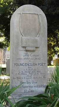 Могила Джона Китса на протестантском кладбище в Риме