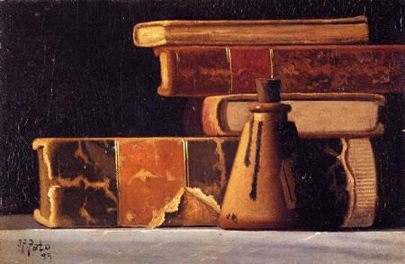 Джон Фредерик Пето. Натюрморт с книгами и бутылкой чернил. 1899