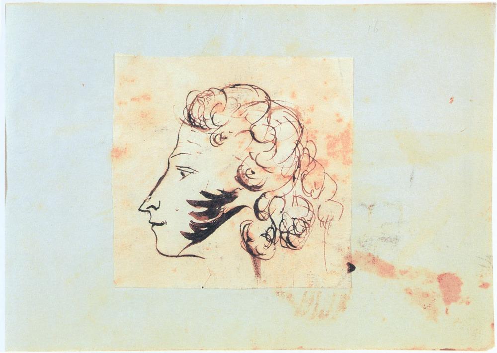 Русский писатель и поэт Пушкин, Александр Сергеевич (1799-1837). Автопортрет на листе, вклеенном в альбом Е.Н. Ушаковой. 1829г.