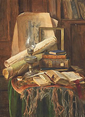 С. Андрияки Керосиновая лампа и старые книги. 1989
