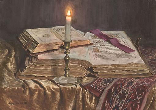 С. Андрияки Натюрморт со свечой и книгами. 2002