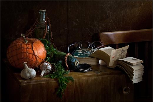 Натюрморт с овощами и отрывным календарём