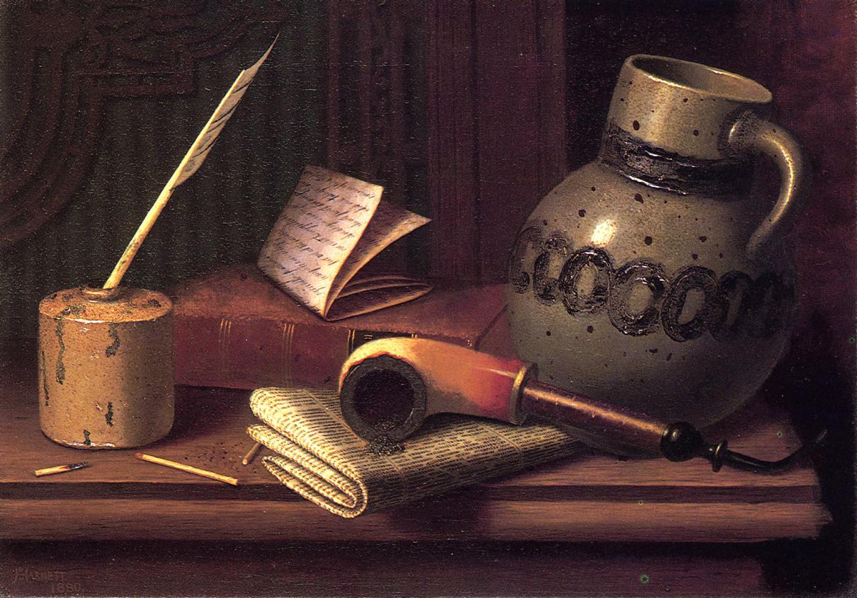 Уильям Майкл Харнетт. Натюрморт с чернильницей, книгой и трубкой. 1880