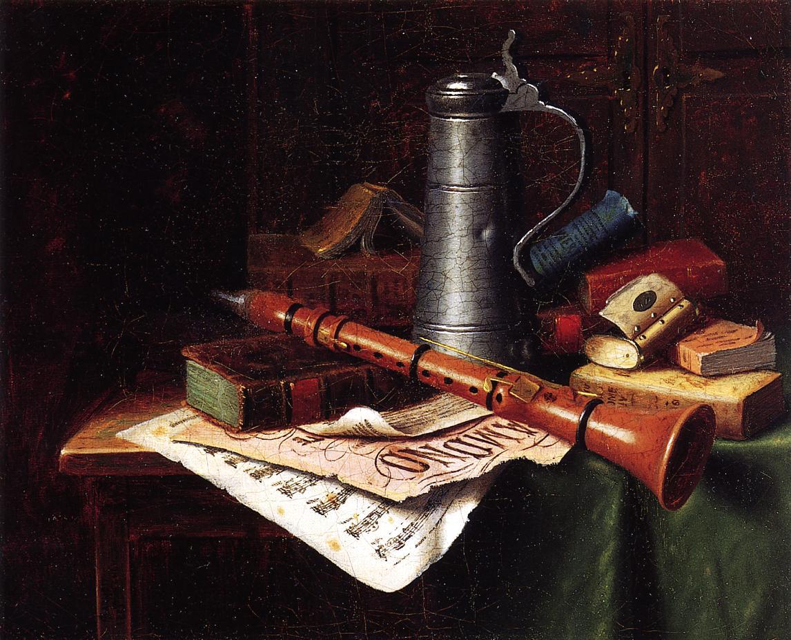 Уильям Майкл Харнетт. Натюрморт с кларнетом. 1883