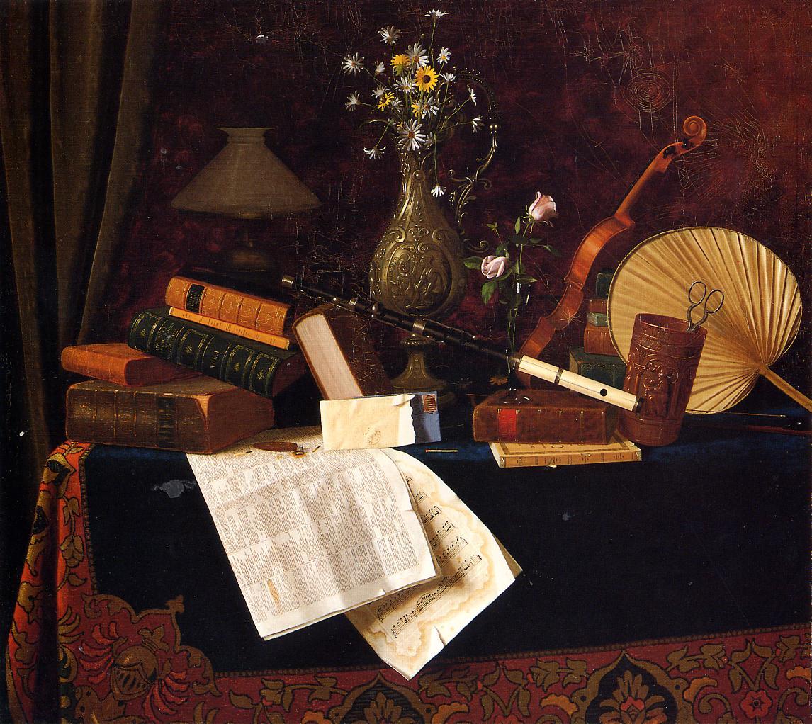 Уильям Майкл Харнетт. Натюрморт с музыкальными инструментами. 1887