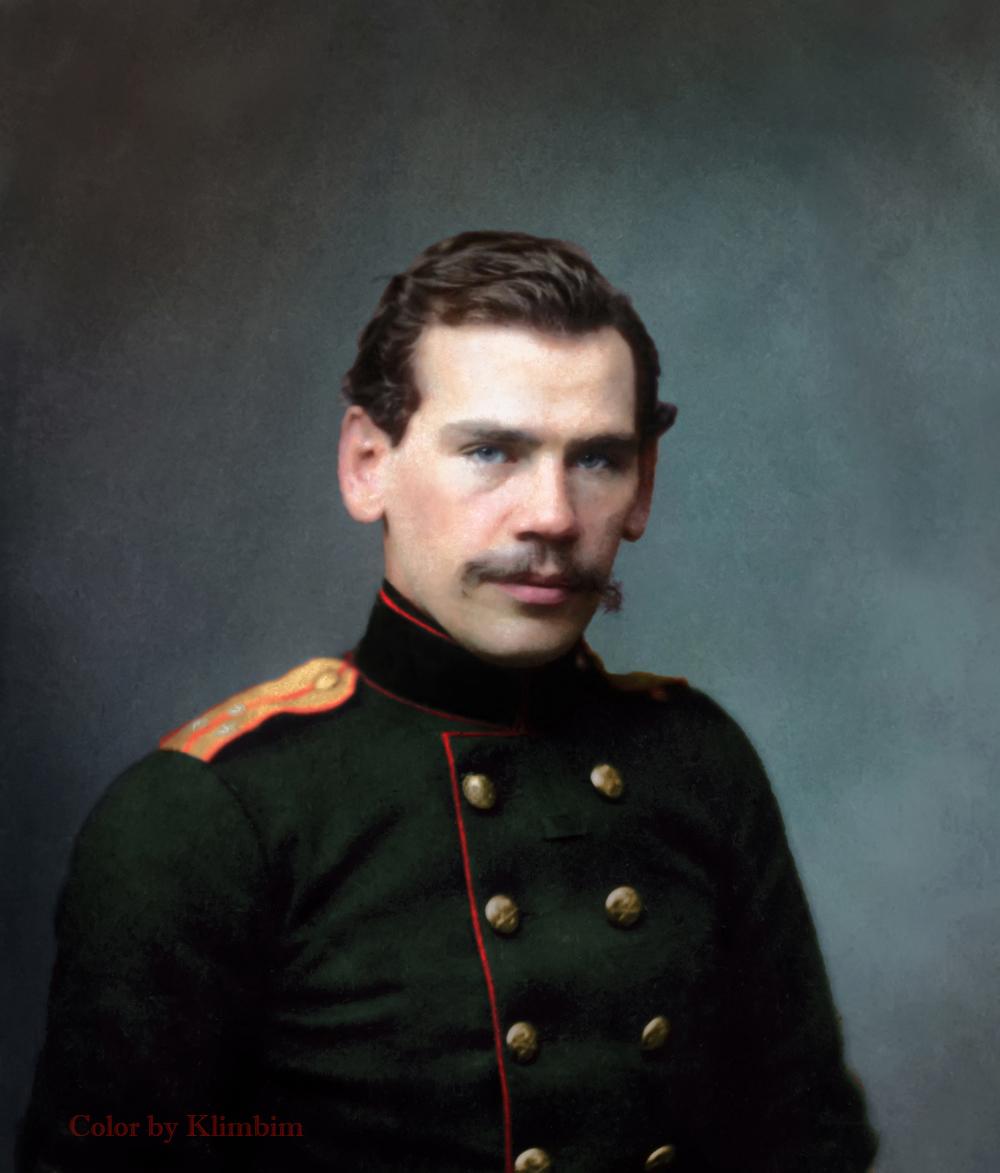 Л.Н.Толстой-поручик. 15 февраля 1856 г. Петербург. С фотографии С.Л.Левицкого
